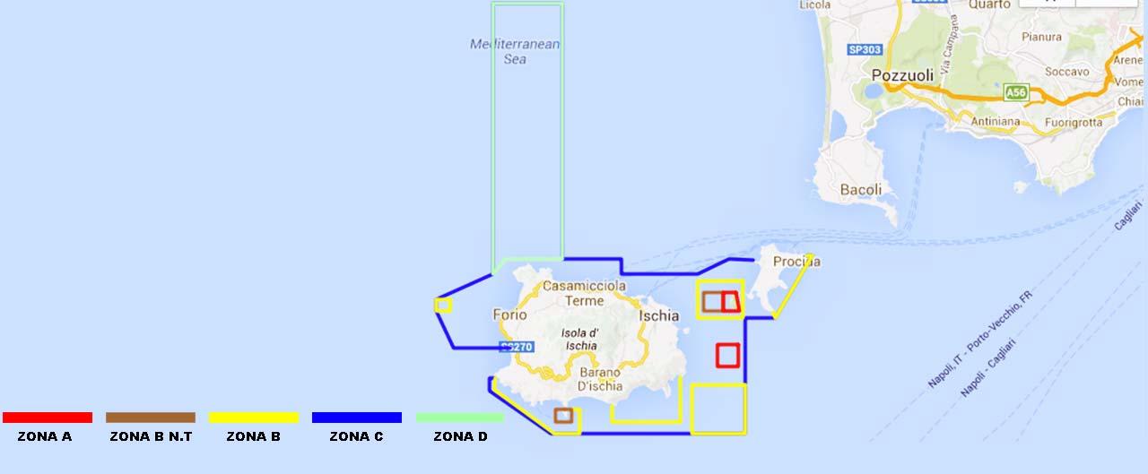 area protetta di regno di nettuno sull'isola di ischia