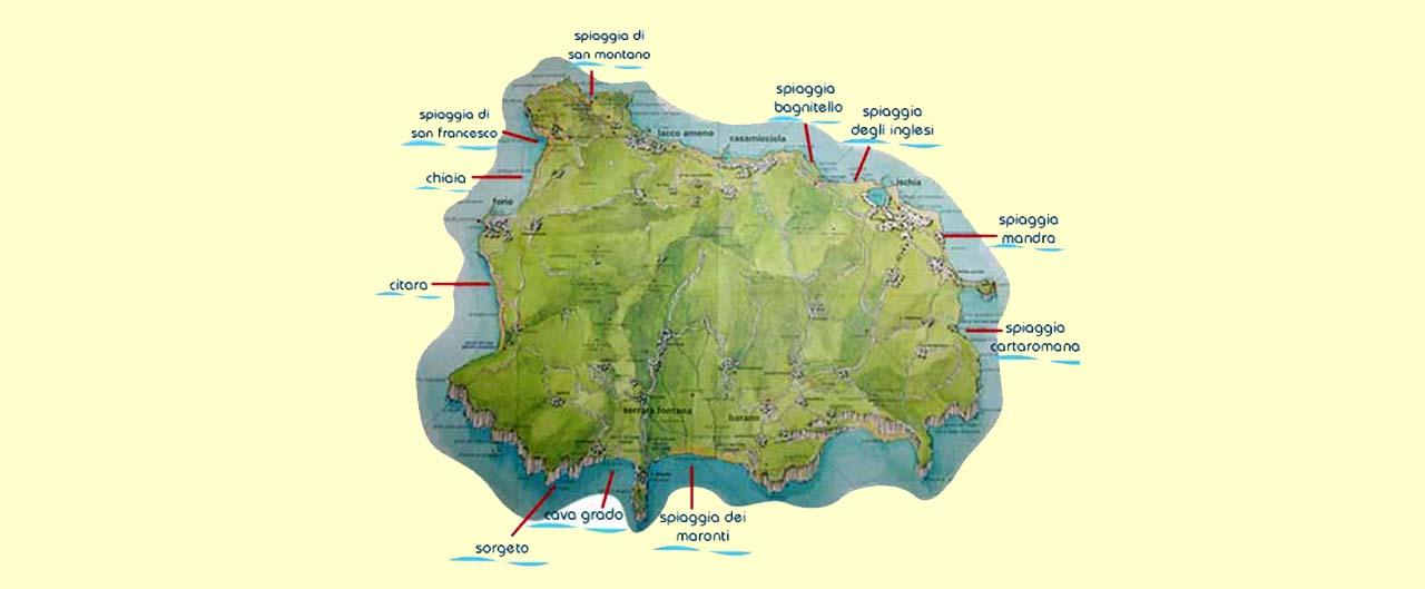 cartina delle spiagge di ischia