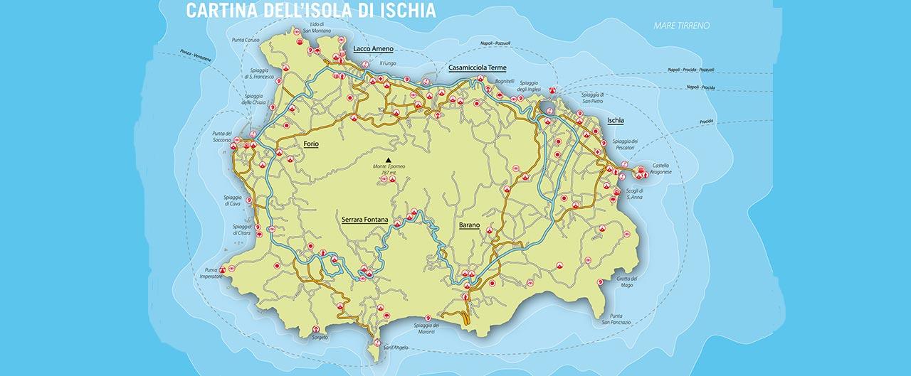cartina dell'isola di ischia e spiagge